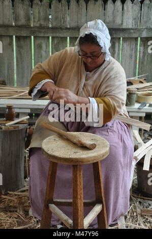Basketmaker in Colonial Williamsburg in Virginia - Stock Photo