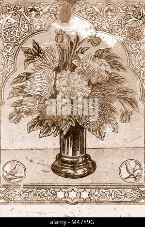 old metal plate with bouquet of flowers sepia - Stock Photo
