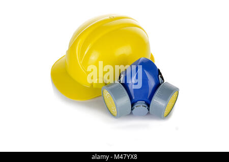 Hard hat helmet and gas respirator isolated on white - Stock Photo