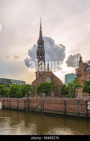 The old Lutheran St. Katharinen church in Hamburg - Stock Photo