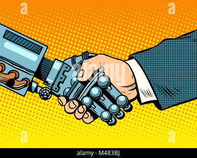 Handshake of robot and man. New technologies evolution - Stock Photo