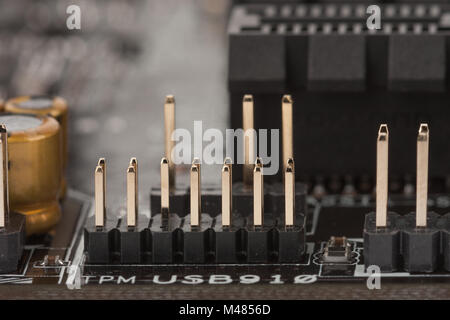 Close up view, 14-1 pin connectors on new, motherboard for office PC - Stock Photo