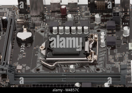 Modern, new, motherboard, close up view. - Stock Photo