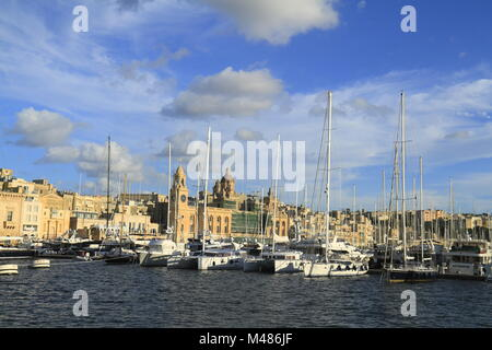 View of the Grand harbor and Fort Saint Angelo - Stock Photo