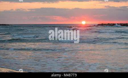 Sunset View With Party Cloudy Skies - Stock Photo