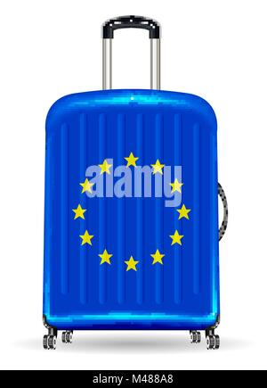 real travel luggage bag with european flag - Stock Photo