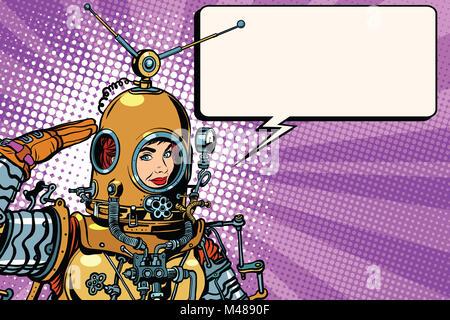 Retro woman salutes astronaut close up