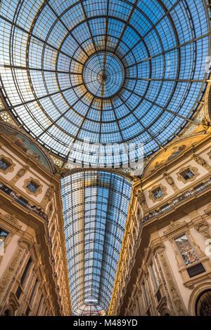 Galleria Vittorio Emanuele II shopping arcade, Milan, Italy - Stock Photo
