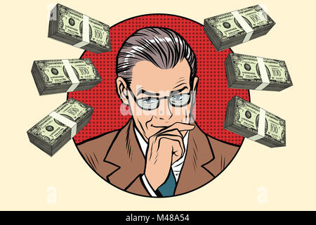 Business man and wads of money