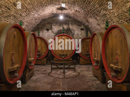 Wine barrels (botti) in a Montepulciano cellar, Tuscany - Stock Photo
