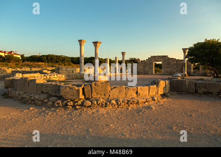 Ancient Greek basilica and marble columns in Chersonesus Taurica. - Stock Photo