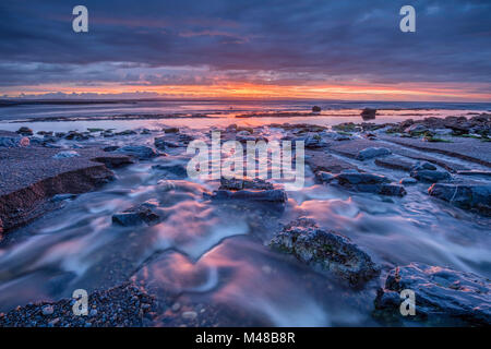 Coastal sunset near Enniscrone, Killala Bay, County Sligo, Ireland. - Stock Photo