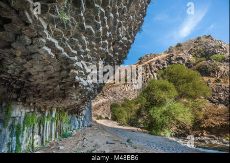Symphony of Stones basalt columns, Garni gorge, Armenia - Stock Photo