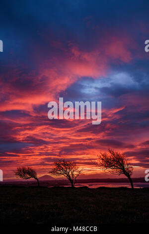 Sunset over the River Moy estuary, County Sligo, Ireland. - Stock Photo