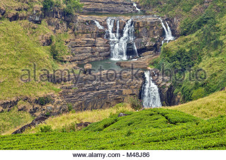 St. Clairs Water Falls Little Niagara of Sri Lanka waterfall - Stock Photo