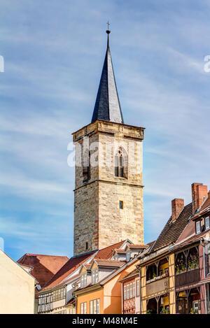 Saint Giles church and half-timbered houses in Erfurt - Stock Photo