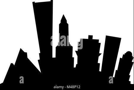 Cartoon skyline silhouette of the city of Portland, Oregon, USA. - Stock Photo