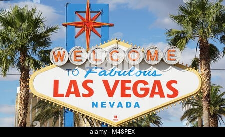 Welcome to Fabulous Las Vegas sign in Nevada - Stock Photo