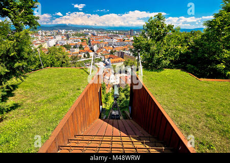 Funicular of Ljubljana and city aerial view - Stock Photo