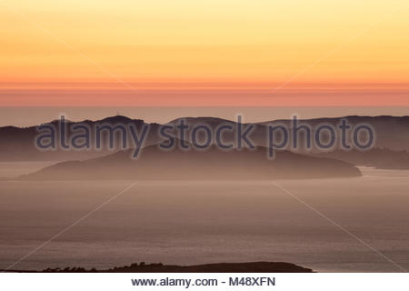 Hazy sunset over the Hills of Marin County, California - Stock Photo