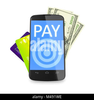 smartphone, dollar notes and credit cards for mobile payment - Stock Photo