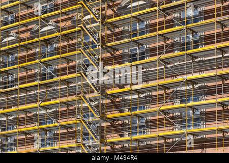 scaffolding  - building facade construction site - Stock Photo