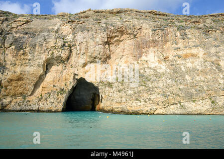 The Iconic Rock Formations at the Azure Window Dwejra Inland Sea on Gozo, Malta - Stock Photo