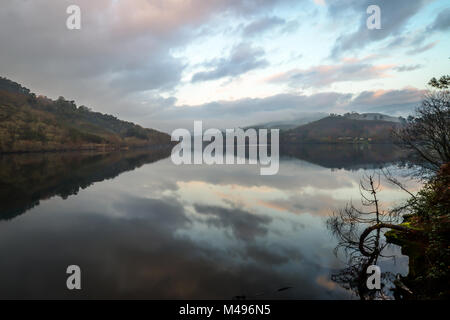 Sunset over Limia river - Entre Ambos - os - Rios - Portugal - Stock Photo