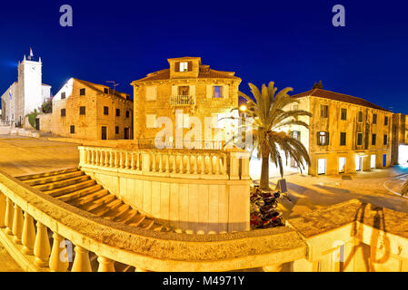 Supetar old stone square evening view - Stock Photo