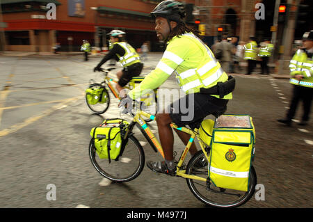 Paramedics on bicycles in London near Kings Cross Station on July 7th 2005 the day of the terrorist bombings on - Stock Photo