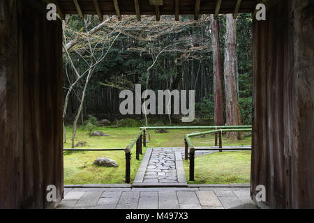 Kyoto, Japan - zen garden at famous Daitokuji (Daitoku-ji) Temple. Buddhist zen temple of Rinzai school. - Stock Photo