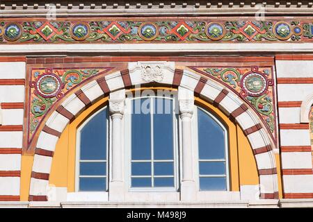 Sofia, Bulgaria - famous Central Mineral Baths building. Vienna Secession architecture style. - Stock Photo