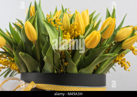 Bright spring bouquet of tulips and mimosa flowers - Stock Photo