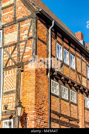 Historic red brick constructed house in Wismar - Stock Photo