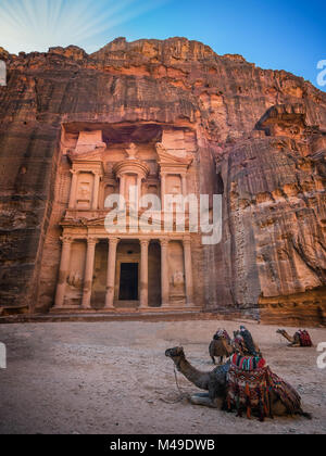 The Shrine in Petra seen from the gorge, Jordan - Stock Photo