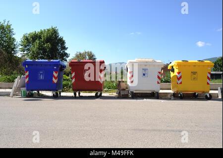 Recyling bins in Pescasseroli in Abruzzo National Park, Italy - Stock Photo