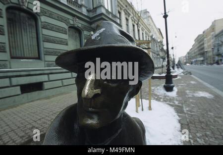 Monument to 20th century Polish Jewish Poet Julian Tuwim on Piotrkowska street in Lodz Poland 2007 - Stock Photo