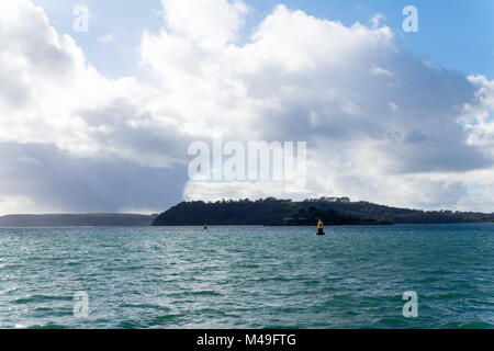 Plymouth Sound from The Citadel at Sutton Harbour in Plymouth UK looking towards the secretive Drake's Island - Stock Photo