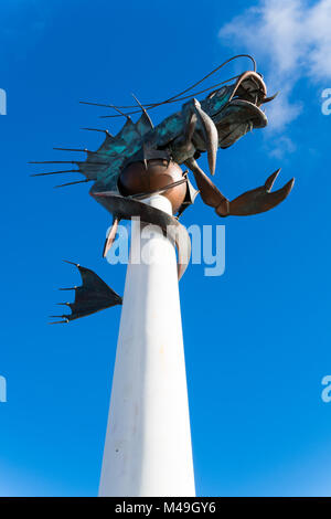 The Leviathan sculpture in Sutton Harbour, Plymouth, by artist Brian Fell - also known as the Plymouth Prawn. Looks - Stock Photo