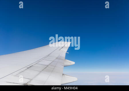 View from plane window; flying from Tokyo to Amsterdam - Stock Photo