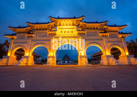The Gate of Great Piety, Chiang Kai-shek Memorial Hall at night in Taipei city, Taiwan. - Stock Photo