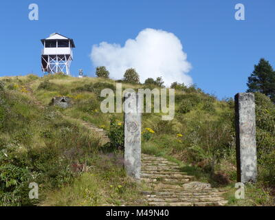 Stairs to Lookout Tower on Poon Hill - one of the most visited Himalayan view points in Nepal, Annapurna Circuit - Stock Photo