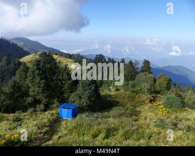 Colorful meadows and forests on Poon Hill - one of the most visited Himalayan view points in Nepal, Annapurna Circuit - Stock Photo