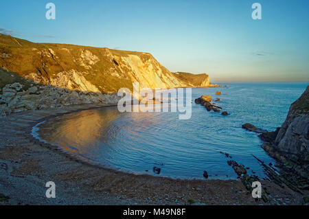 UK,Dorset,Man O' War Cove in St Oswald's Bay from the Cliffs of Durdle Door - Stock Photo