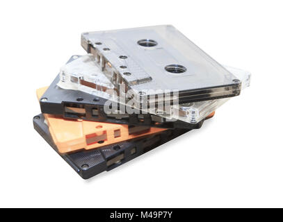 group of Old cassette tapes on white background - Stock Photo