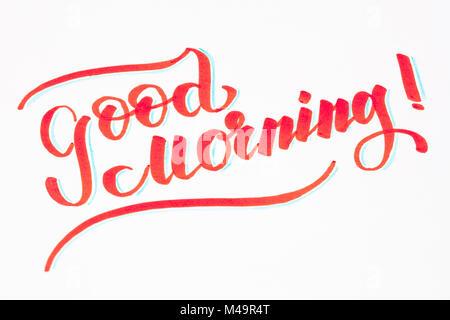 Good Morning ! Brush lettering hand written phrase design - Stock Photo