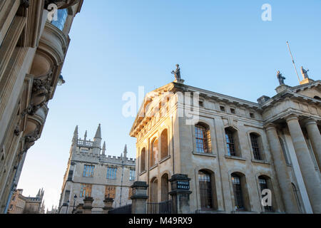 Bodleian library at sunrise, Broad Street, Oxford, Oxfordshire, England - Stock Photo