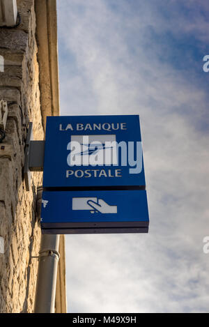 Paris, France - February 10, 2018 : La Banque Postale signboard. La Banque postale is a French bank, created on - Stock Photo