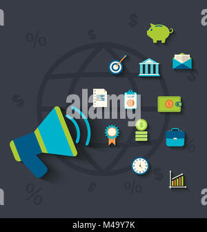 Flat icons concepts on business and finance theme - Stock Photo