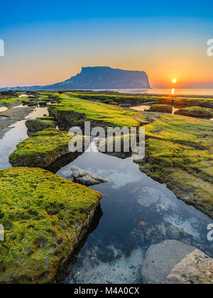Sunrise at Seongsan Ilchulbong, Jeju, South Korea - Stock Photo
